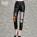 Черный подлинная кожаные штаны 100% овчины брюки прямые мульти кожа сращены декор pantalon femme pantalones mujer LT1093