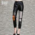 Black genuine leather pants 100% lambskin straight pants multi leather spliced decor pantalon femme pantalones mujer LT1093