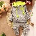 Nuevo 2017 Ropa de Bebé Recién Nacido Conjunto Primavera/Otoño Set Niños Niñas Ropa de Bebé Twinse Trajes Pantalón Sudadera con capucha Niños ropa