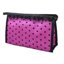 VSEN Hot Zip up Fuchsia Black Dots Lace Meshy Cosmetic Bag Organizer Lipstick Perfume Holder