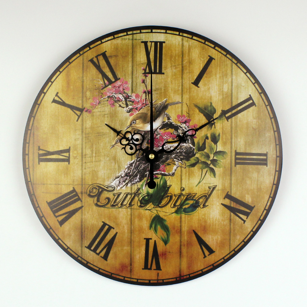 Bedroom Decoration Wall Clock With Silent Clock Movement Warranty 3 Years Vintage Home Decoration Wall Clock Watches Gift-in Wall Clocks from Home & ...