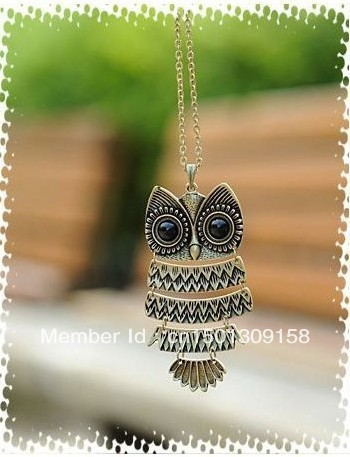 Min.Order $10 Free Shipping Fashion Necklace Retro Bronze Cute Owl Necklace With Big Eye Pendant Sweater Vintage Necklace-NA0037