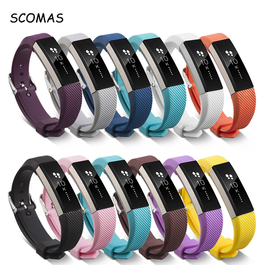 SCOMAS Soft Silicone strap for Fitbit Alta for Fitbit Alta HR Replacement Band Watch Sports smart Wrist band clasp buckle Strap