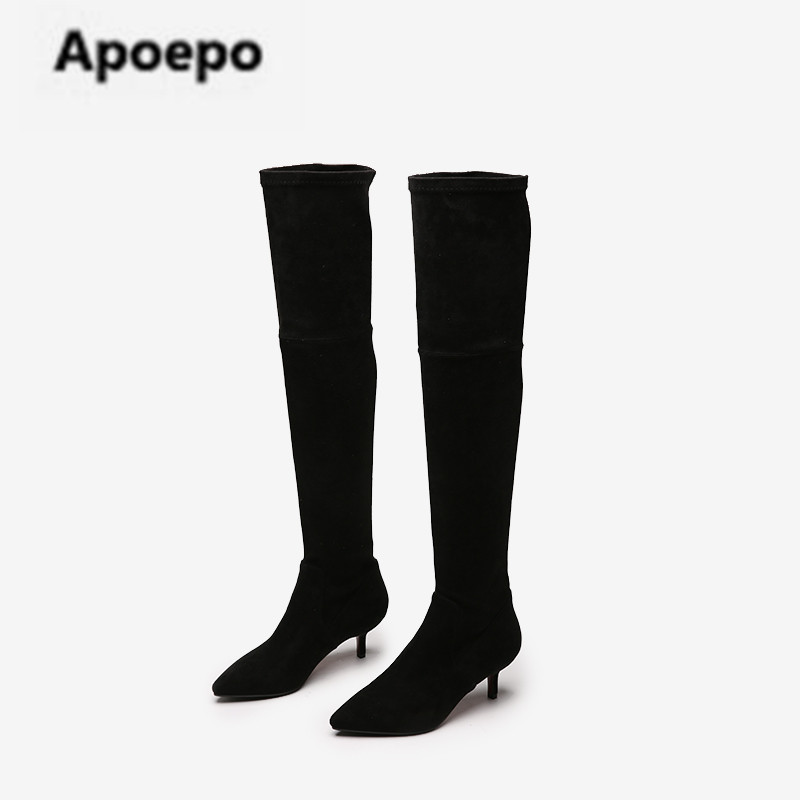 Apoepo brand boots suede leather long boots women black sexy med heels over the knee boots women shoes winter Elastic boots 2018