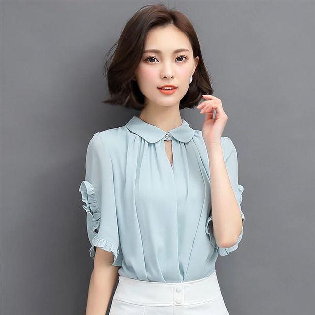 2b06a2bfacc 5 Colors Fashion Summer Tops Women Blouses 2018 Chiffon Blouse Short Sleeve Shirt  Office Women Shirts Plus Size Blusas Mujer