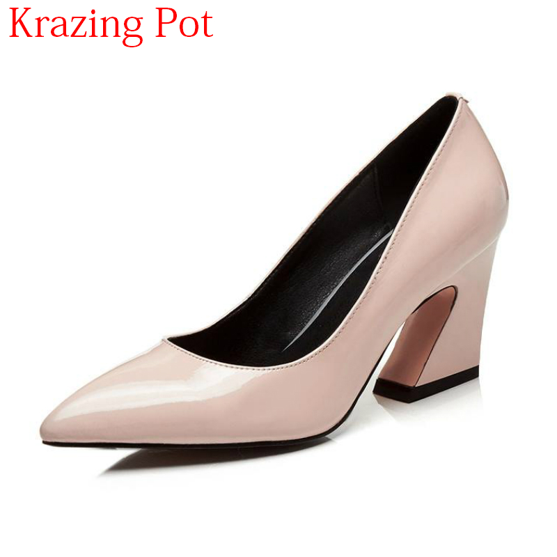 купить Fashion Streetwear Cow Leather High Heels Pointed Toe Shallow Strange Style Office Lady Wedding Shoes Party Concise Pumps L18 по цене 3629.4 рублей