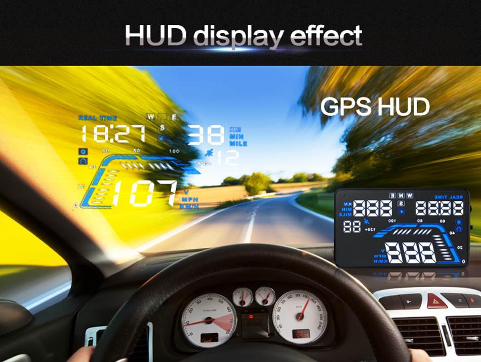 Universal Q7 5.5 Auto Car HUD GPS Head Up Display OBD II 2 Overspeed Warning Alarm Dashboard Windshield Project Speedometers-13