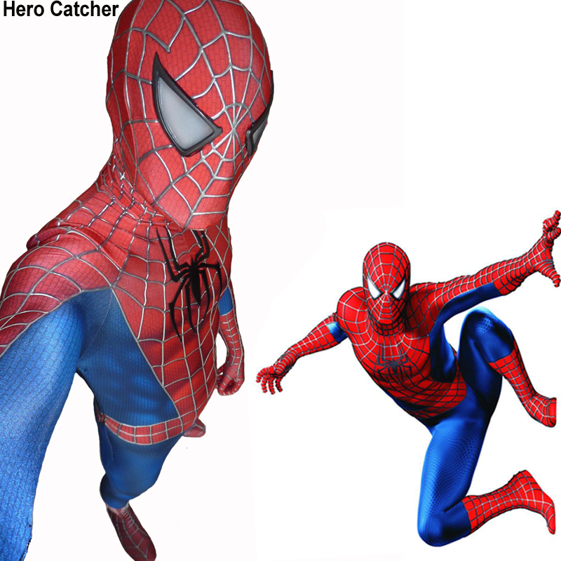 Hero Catcher High Quality 3D Webs Spiderman Costume Raimi Spiderman font b Suit b font Movie