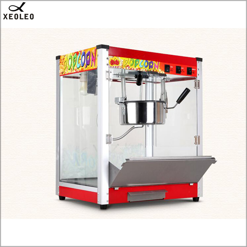 XEOLEO 8 OZ Popcorn maker Elettrico per Uso Professionale Sferica macchina del Popcorn 1360 W 110 V/220 V CE Olio Spuntato vetro temperato