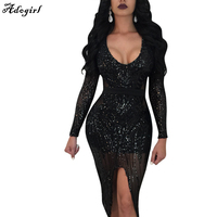 Adogirl Fall Winter Elegant Sequined Dress Women Black Bodycon Dresses Long Sleeve Lady Evening Party Sequin Midi Dress Vestidos
