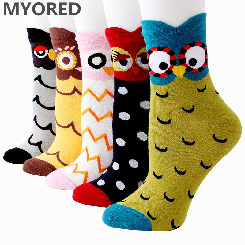 MYORED women cotton 3D owl   socks   cute cartoon party holidiay   sock   girls ladies halloween Meias gift   sock   5pairs/Lot