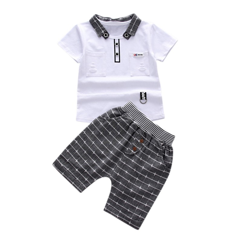 T-Shirt Shorts Pockets Outfitsest Baby-Boy Casual Summer Children Plaid with 2pcs Top
