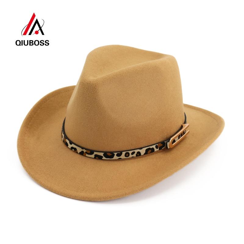 c19bab63 QIUBOSS Cheap Fashion Handmade Wool Felt Wide Brim Fedora Hats with ...