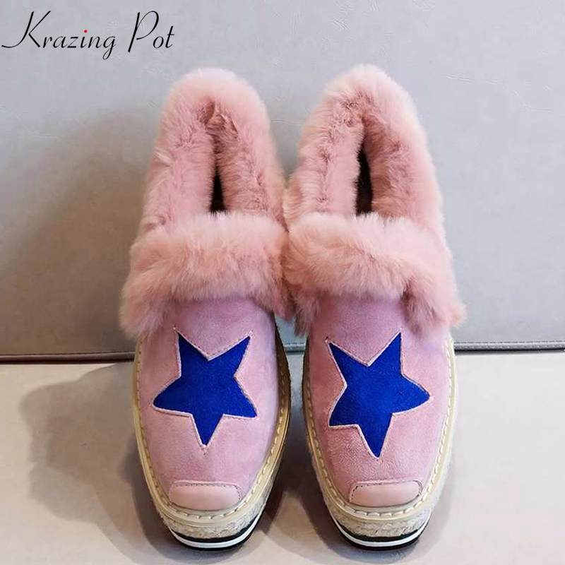 Krazing pot 2018 women brand winter flat platform round toe sheep suede elegant five-star pattern slip on women cozy shoes Lrfc цена 2017