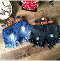 2016 Summer style toddler girl clothing frayed tassel denim hole shorts fashion girl ripped pants with belt kids clothes 2-7T