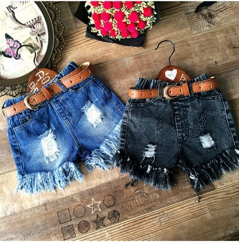 2016 estilo verão roupas da menina da criança desgastadas tassel buraco denim shorts menina moda calças rasgadas com as crianças cinto roupas 2 - 7 T