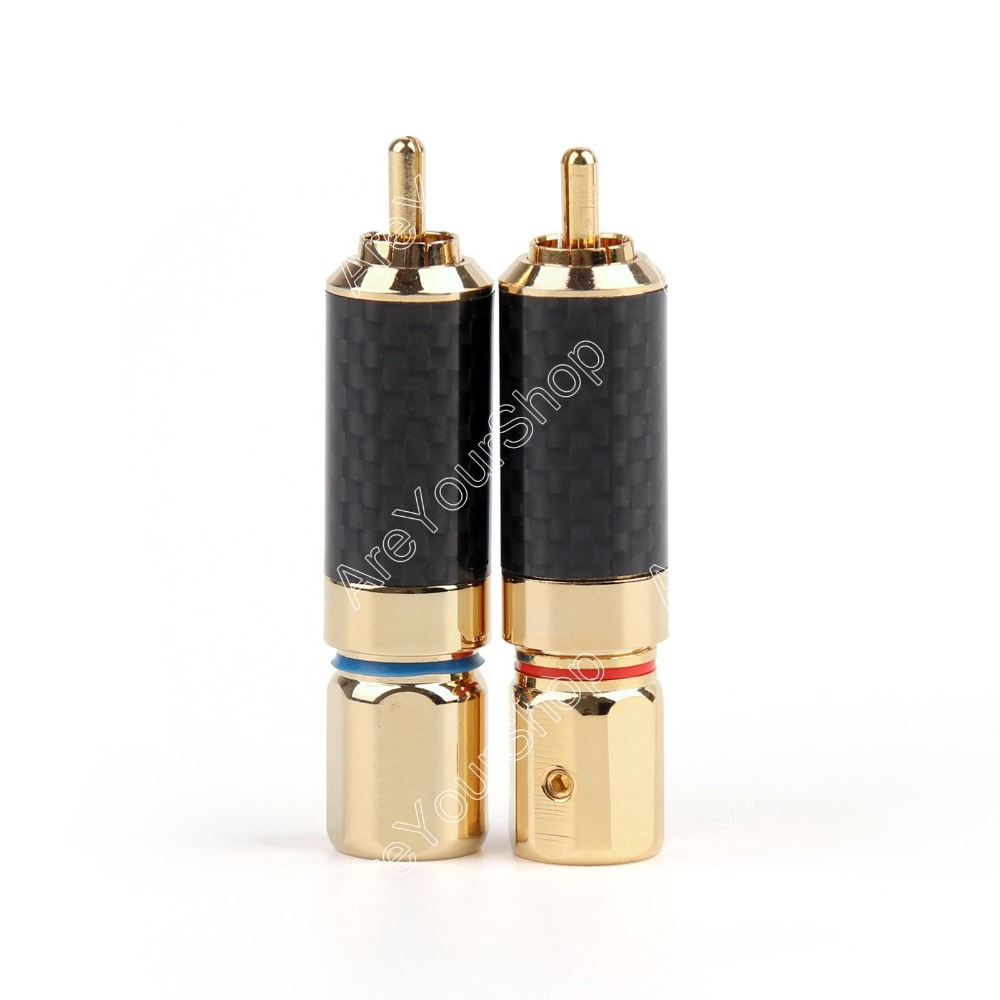 Areyourshop 2PCS Copper 24K Gold Plated Rhodium Plated RCA Connector Audiophile Jack Plug Solder DIY 1pair gold plated rca jack connector panel mount chassis audio socket plug bulkhead with nut solder cup wholesale 2pcs