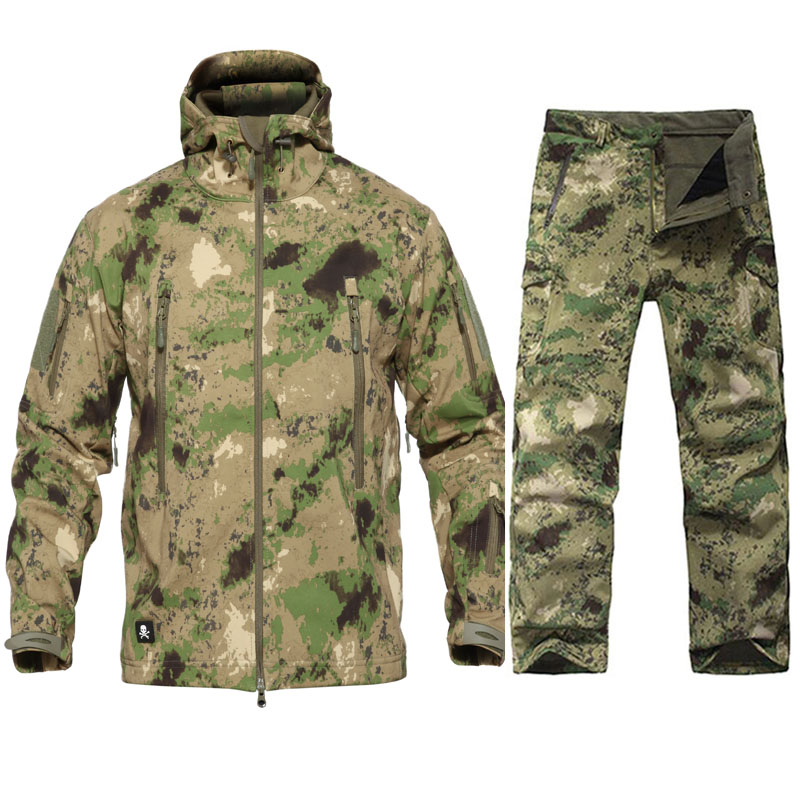Men Tactical Military Uniform Waterproof Windproof Army Combat Suit Men's Camouflage  Military Combat Jacket + Pant Hunting Set