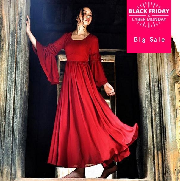 db1c85307545ef 2019 Mode Vintage Rouge Flare Manches Robes Longues Robes vêtement pour  femme Boho robe style ethnique robe longue AW281