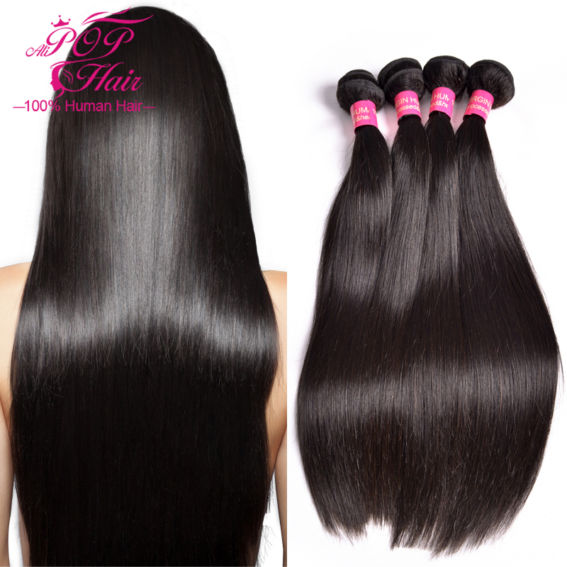 Peruvian Virgin Hair Straight 4 bundles Peruvian Straight ...