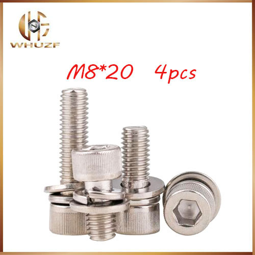 4pcs M8*20mm 304 Stainless Steel Knurled Thumb Head Hex Bolt Hexagon Socket Lock Assembly Screw combination m4 bolts,m4 nails