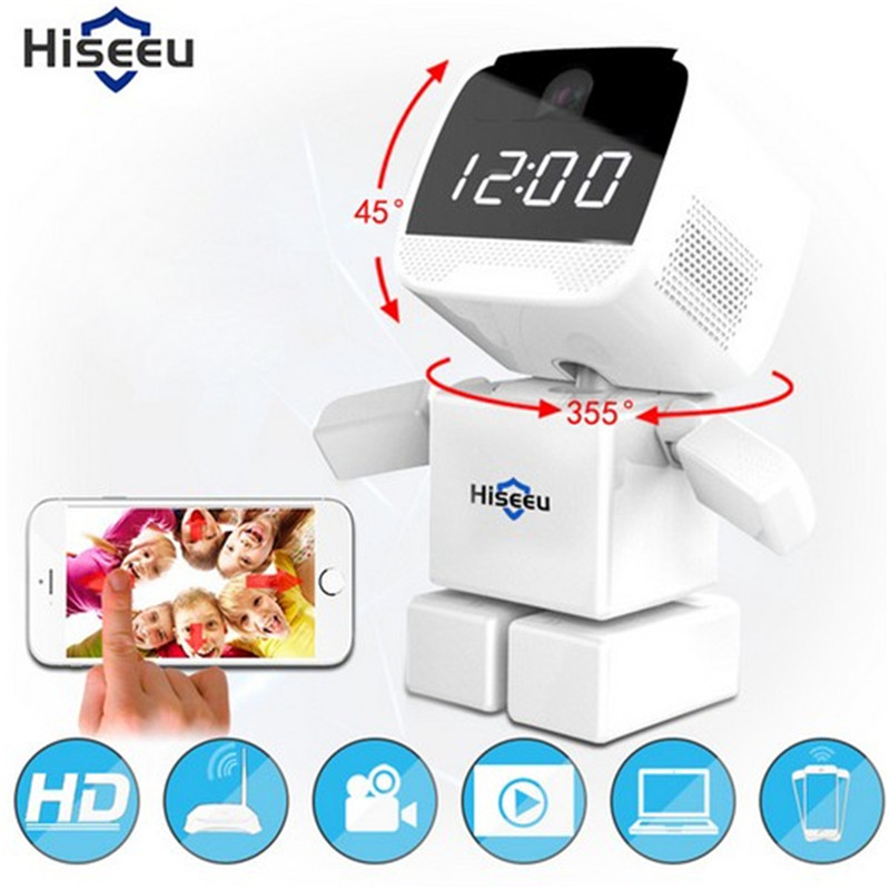 HD 960P Wireless Robot IP Camera Wi-fi Network CCTV Camera WIFI 1.3MP Baby Monitor Security Night Vision Clock Camera Hiseeu robot camera wifi 960p 1 3mp hd wireless ip camera ptz two way audio p2p indoor night vision wi fi network baby monitor security