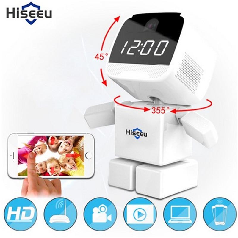 HD 960P Wireless Robot IP Camera Wi-fi Network CCTV Camera WIFI 1.3MP Baby Monitor Security Night Vision Clock Camera Hiseeu