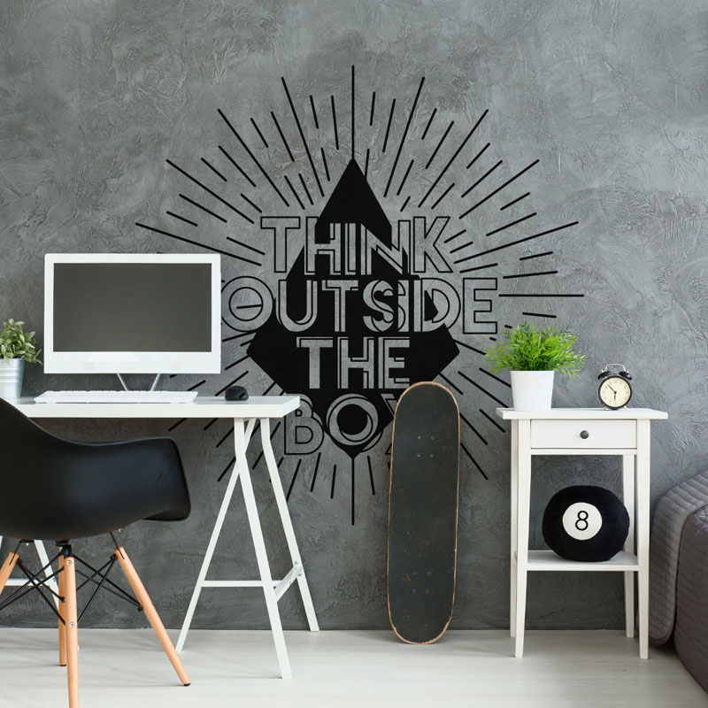 Glowing Think Outside The Box Wall Decal Quote Office Wall Sticker Vinyl Home Decor For Kids Bedroom Study Reading Room B691
