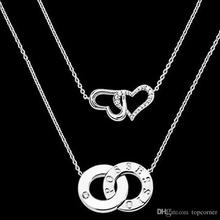 12pcs/lot Elegant Crystal Full love double Heart Neckchain 2 layer Bridal Girls Jewerlry JNS113