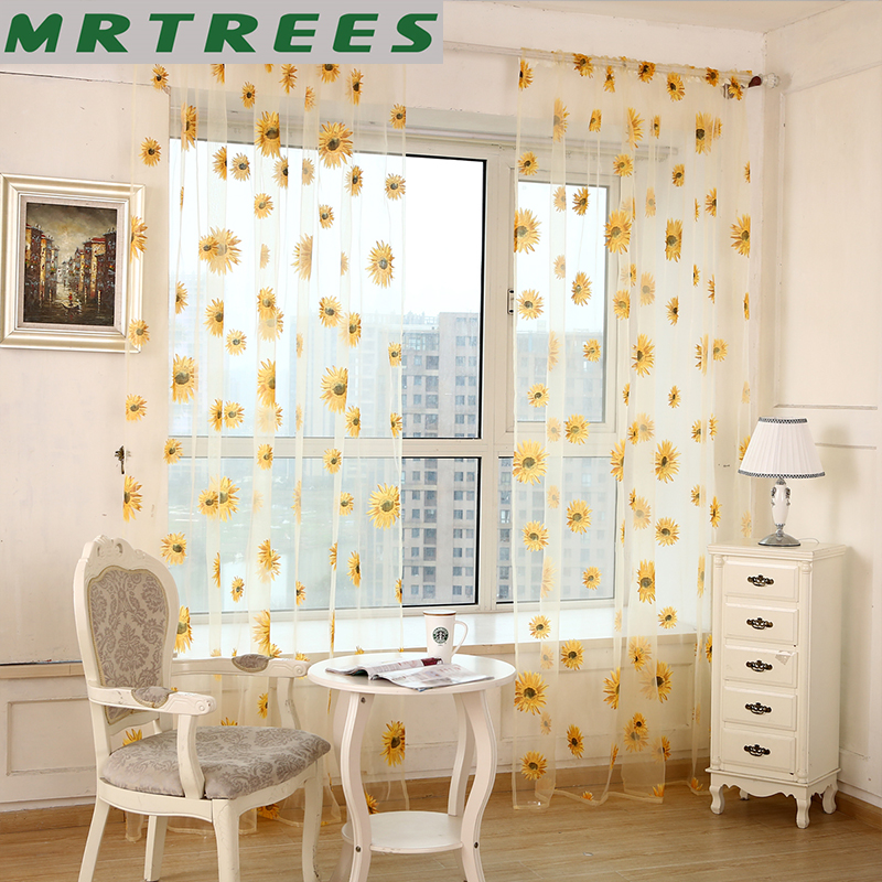 Floral Printed Sheer Curtains For Living Room The Kitchen Tulle Sheer Panel Curtains On The Window Voile Curtains For Bedroom