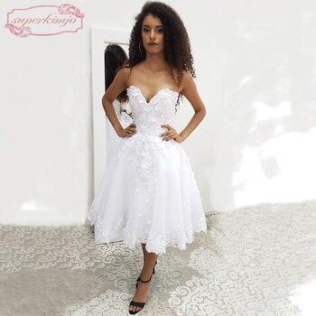 f4ae414fe SuperKimJo blanco vestidos de graduación para niñas 2018 corto 3D flores  apliques baratos vestidos de fiesta