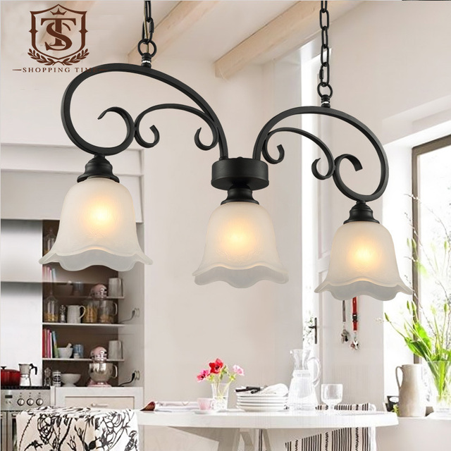 Country Style Dining Room Pendant Lamp Black Wrought Iron And Gl Shade Hanging Lighting E27 Led