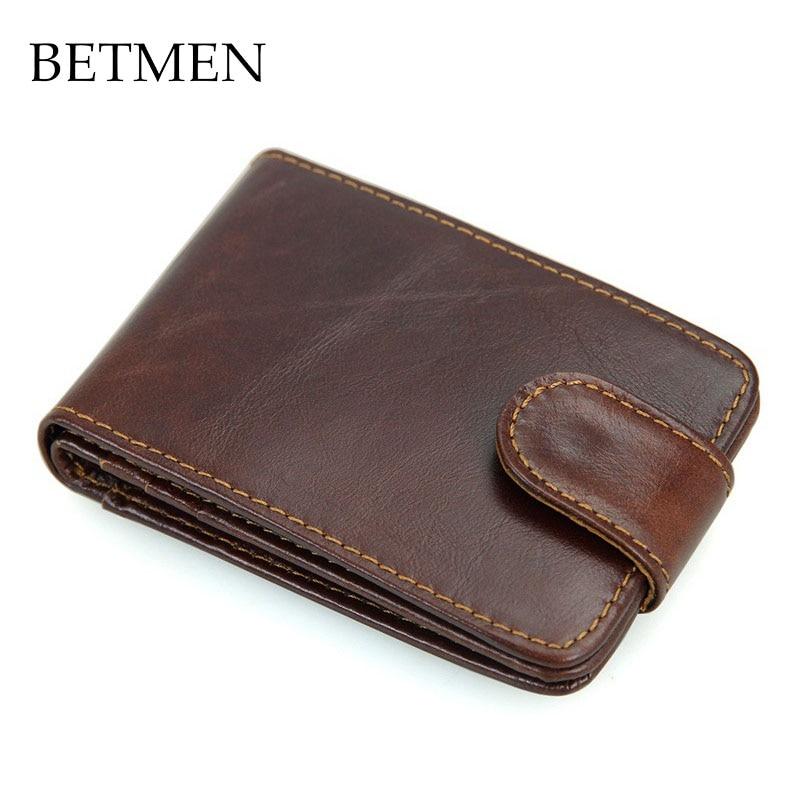 BETMEN Vintage Genuine Leather Card Holder Wallet Casual Hasp Men Credit ID Card Case