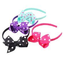1pcs Polka Dot Toddlers Girls Kids Hair Hoop Band Sweet Bow Knot Headband Headwear Princess Hairband Accessories