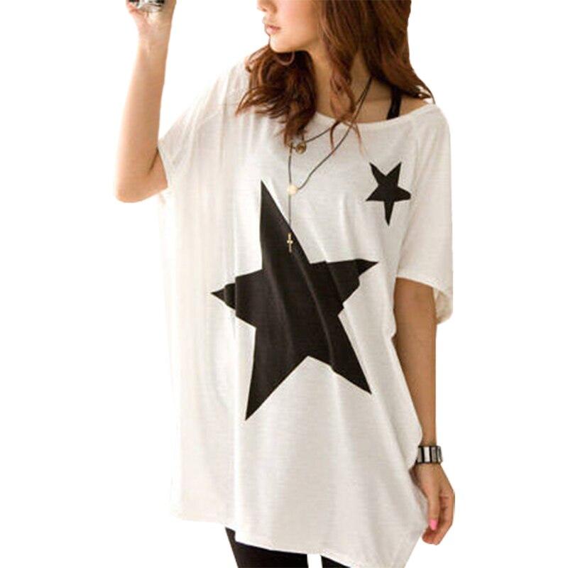 Korean Version T Shirt Women Star Pattern Plus Size Loose -5839