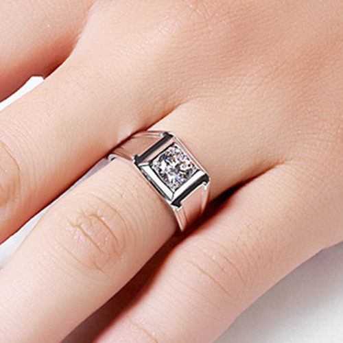 line Shop THREEMAN Test as Real Solid 585 Gold Ring 1 CT