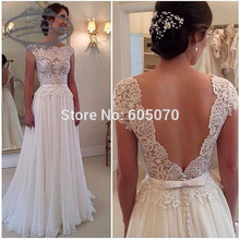 2015 New Chiffon and Lace Wedding Dress Vestidos de Noiva Bridal Gown Open Back Cap Sleeves