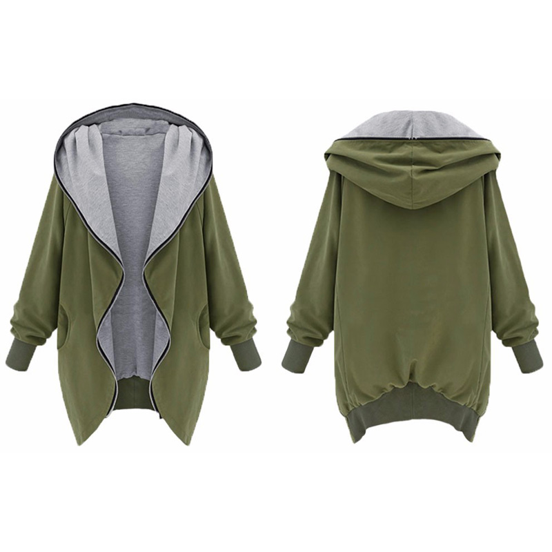 Black 7xl Fall Jacket Female Hoodie Cardigan Coat Overcoat Sleeve Hooded Green Zippered Long army Women Military vvrRqOw