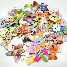 HL 30pcs/package  Wholesale Mix Styles Random Send Cartoon Flatback Wooden Buttons DIY Scrapbooking Sewing Crafts