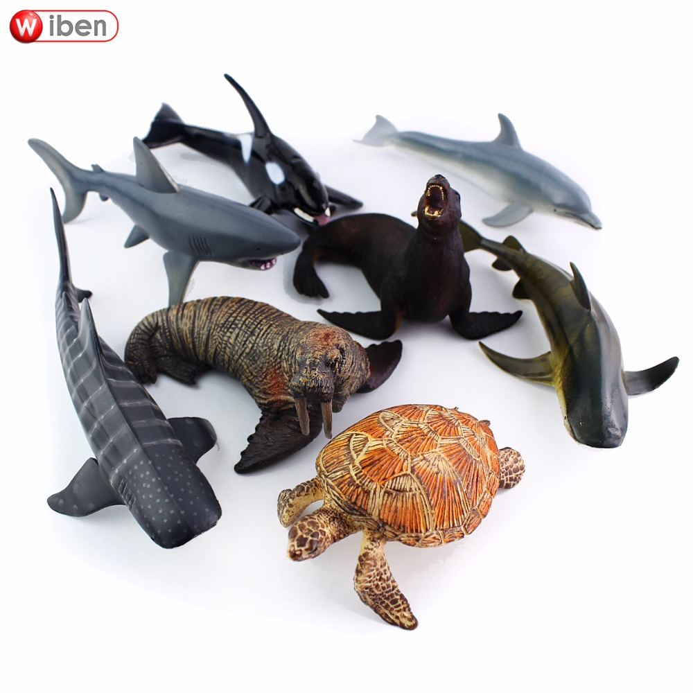 Lovely 1pcs Simulation Seabed Animal Model White Shark Whale Shark Sea Lion Poster Animal Pvc Collectible Toys Christmas Gift Kids Toys & Hobbies