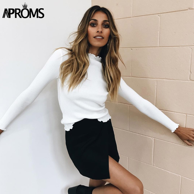 Aproms Winter Sweet Ruffles Turtleneck Knitted Long Sleeve   T  -  Shirt   2019 Basic Tee Casual White Stretch   T     Shirt   Autumn Slim Tops