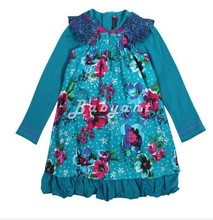 2014 new fashion girls Autumn&Winter Catimini designer cute floral long-sleeve dress kids girls fake two-pieces princess dresses