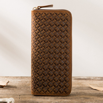 2017 Top Quality Weave Handmade Vintage Genuine Leather Wallet Case For Samsung S8 PlusLeather Pocket For iPhone7 6 6s Phone Bag