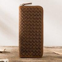 2017 Top Quality Weave Handmade Vintage Genuine Leather Wallet Case For Samsung S8 PlusLeather Pocket For
