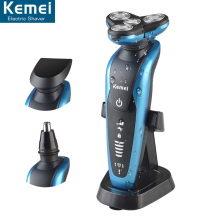 Kemei 58892 3 in 1Whole body wash four knife head rotating razor rechargeable shaver 4D shaver beard trimmer for men's care