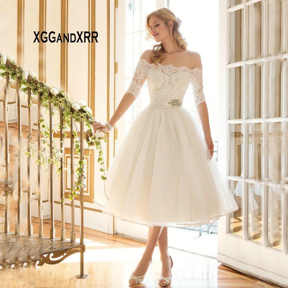 Elegant Boat Neckline Short Wedding Dress 2019 Half Sleeves Lace Appliques Bride Dress Off Shoulder Mid