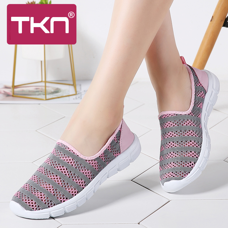 US $10.77 37% OFF|TKN Women Walking Shoes Breathable Mesh Sport Sneakers Ladies Slip On Light Weight Shoes Woman Plus Size Ballerina Flats E39 in
