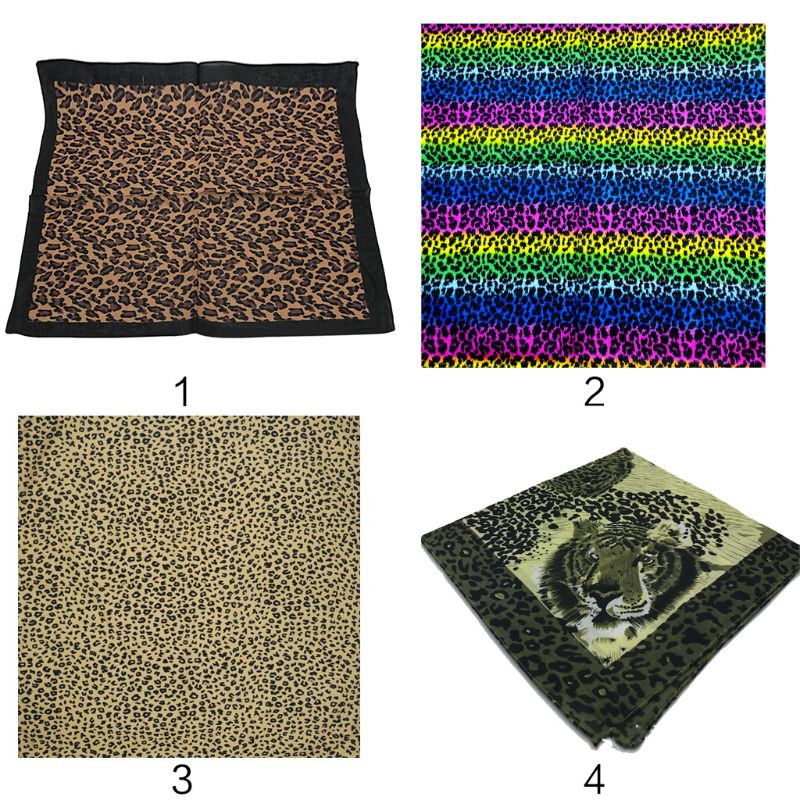 Bohemian Vintage Headband Leopard Tiger Print Unisex Cotton Square Scarf Outdoor Cycling Bandana Hip-Hop Wristband Neck Tie