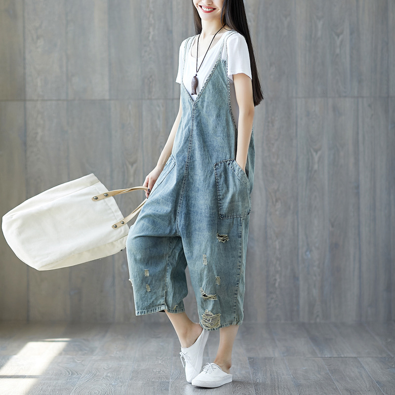 Women's Casual Loose Vintage Denim Overalls Lady Hole Ripped Baggy Washed Jeans Wide Leg Pants for Woman Trousers Plus Size