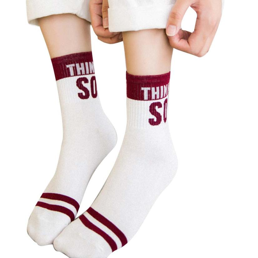 snowshine3 YLI Women sport Letter Socks Design Multi-Color Warm Winter